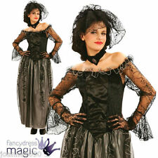 Damen Vampir Gothik Braut schwarz Witwe Spitze Hexe Halloween Kostüm
