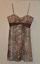 BCBGmaxazaria Empire Waist Silk Metallic Spaghetti Strap Dress –size 02 NWT