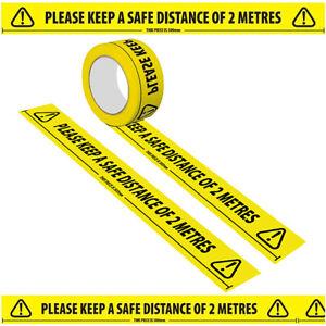 33M WARNING Social Distancing Floor PVC Tape Yellow Hazard Safe Distance of 2 M