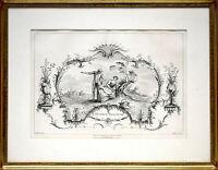 Watteau - Huquier: L'Hereuse Rencontre. [1735]. Original-Radierung, gerahmt.