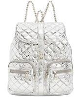 Steve Madden NWT $98 Hollie Quilted Metallic Silver Large Backpack Handbag