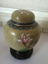 CHINA EXPORT CLOISONNE HAND PAINTED ENAMEL JAR & LID GOLD FLOWER ORIGINAL STAND