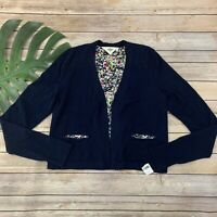 HWR Monogram Anthropologie Cardigan Sweater Size XS Navy Blue Open Front
