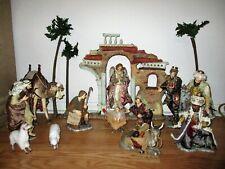 HUGE Nativity Set Hand-Painted Porcelain 16pc Member's Mark NF0383 Beautiful Fab