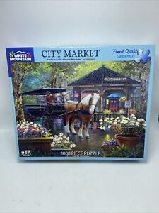 "White Mountain 1000 Piece Puzzle Made in USA ""City Market"""