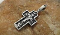 "VINTAGE STERLING SILVER ""925"" CATHOLIC or ORTHODOX CRUCIFIX PSALM 68 ""EXORCISM"""