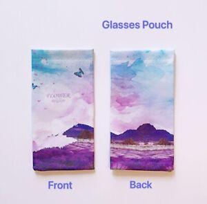 Faux Leather Sunglass Eyeglasses Glasses Snap Shut Soft Pouch - Lavenders