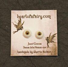 Glass Like Eyes - 3mm iris 6mm eyeball - color just green - Doll Making
