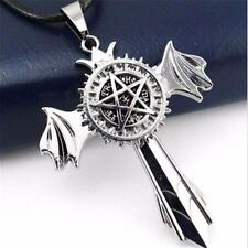 Anime Kuroshitsuji Black Butler Star Marks Silver Cross Wing Pendant Necklace