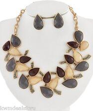 Ladies Fashion Jewelry Gold Black Green Rhinestone Necklace Post Earrings Set