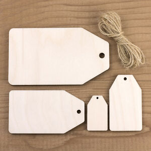 LUGGAGE LABEL TAGS Wooden Blank Price Ticket Shape Personalised Gift Wrap Tag
