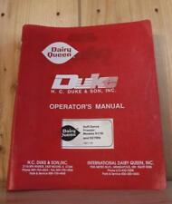 Orig Duke Dairy Queen Soft Serve Ice Cream Machine Service Manual - 917R & 927Rn