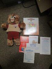 Vintage 1985? Teddy Ruxpin Stuffed Teddy Bear Book And Paperwork