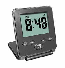 Digital Travel Alarm Clock - No Bells, No Whistles, Simple Basic Black
