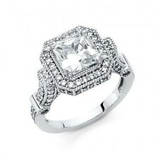 14k White Gold Fancy Victorian Cubic Zirconia Engagement Ring Resizable Size 7*