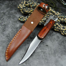 Japanese Handmade Knife Forged Steel Blade Tactical Leather Wood Handle Clip Cut