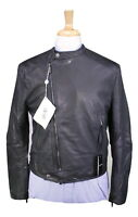 NWT New * EMPORIO ARMANI * Black Leather Slim Fit Biker Moto Jacket 40/Medium