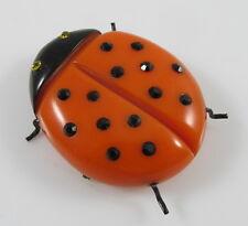 Vintage Bakelite Orange & Black Figural Ladybug Pin Brooch w/Glass Stones