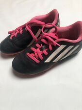 Adidas Soccer Cleats Shoes Size 2 Kids toddler Black and Pink Athletic Girls