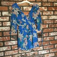 Lots of Love by Speechless Woman Blue Floral Romper Dress - Size S
