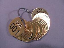"Brady 23516 1-1/2"" Black on Brass Circle Brass Numbered Valve Tags CHW 001-025"