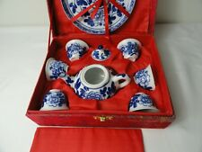 Chinese Porcelain Blue and White Tea Set With Markings original Case