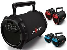 """Axess SPBT1034 6"""" Rechargeable Cylinder Speaker +Bluetooth+USB/SD/FM+Free Mic"""