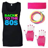 BACK TO THE 80s Ladies Vest & Accessories Fancy Dress Costume Outfit Neon 80's