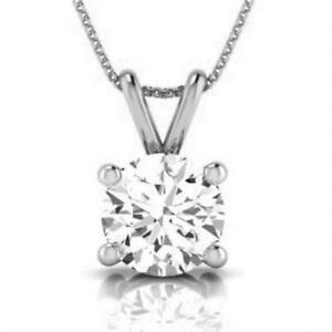 DIAMOND GOLD PENDANT NATURAL ROUND CUT SOLITAIRE NECKLACE 14K WHITE GOLD 1/2 CT