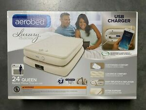 """Aerobed Luxury Raised Pillow Top 24"""" Queen Air Mattress with USB Output 