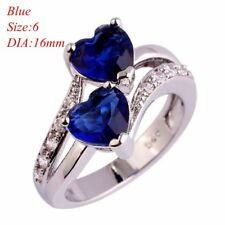 Heart Cut Rainbow & White Topaz GEMSTONE Silver Ring Size 6 7 8 9 10 Jewelry Blue 8