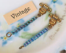 #26M Vintage Drop Dangles Drops Earring findings Glass Beaded Ornate Long NOS