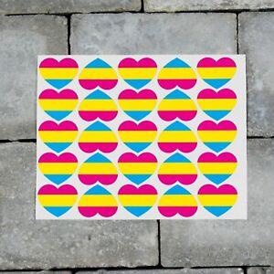 25 x Pansexual Flag Heart Stickers Decals LGBTQ Pride - 37mm x 30mm - SKU7178