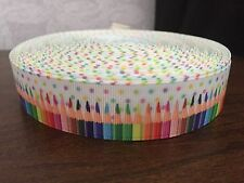 1m White Pencils Dot Colour Stripes Crayons Back to School 22mm Grosgrain Ribbon