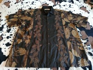 TOMMY BAHAMA 100% SILK, EMBROIDERED LEAVES DOWN CENTER Hawaiian, 2XL Black