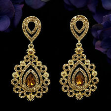 18K Gold Plated GP Topaz Crystal Rhinestone Drop Chandelier Dangle Earrings 6000