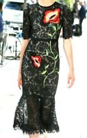 $2995 Lela Rose Embroidered Beaded Black Lace Floral Cocktail Dress IT 42 / US 6