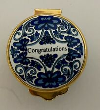 Alastor copper over enamel hinged box Congratulations in box.blue flowers