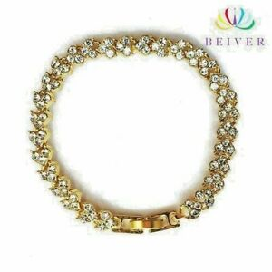 """Bracelet; Crystal Clear Simulated Diamond Stones 14 K Rose Gold Filled 6.49"""""""