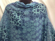 *NEW*Blue/Powder Blue Crushed Chiffon/Georgette Floral Print Dress/Craft Fabric