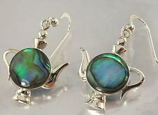 Sterling Silver 925 and Shell Teapot Design Hook Earrings oxidised 19mm x 20mm