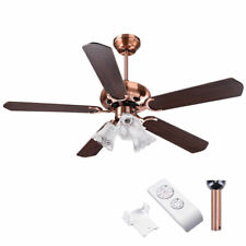 "48"" 5 Blades Ceiling Fan 3 Light 3 Speed Kit Antique Reversible Remote Control"