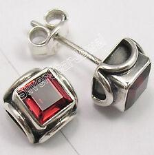 925 Silver GARNET Gemstone Studs Post Earrings 0.7CM