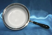 Antique Chrome & Enamel Pan/Pot w/ Wooden Handle - chafing dish not included