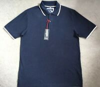 M&S POLO T.SHIRT IN NAVY BLUE WITH WHITE TRIM AROUND COLLAR & SLEEVES - S -BNWT