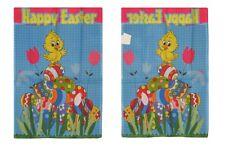 """28x40 Happy Easter Waving Duckling On Eggs Nylon Sleeved Garden Flag 28""""x40"""""""