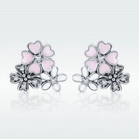 Daisy & Cherry S925 Sterling Silver Pink Stud Earrings With CZ Wedding Jewelry
