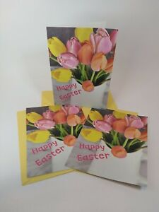 Happy Easter Greeting Card   Lot of 3  Flowers Tulips