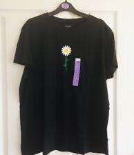Ladies Women's Girls PRIMARK Black Daisy Logo Top T-Shirt Blouse Size XL 18-20