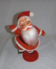 """Vtg Flocked Plastic Santa Figurine 9"""""""